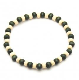 Heren armband houten kralen - Groen beige