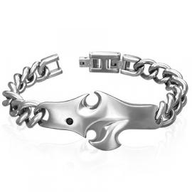 Rvs BIKER armband met grove schakel en Tribal symbool | schakelarmband - 20 cm