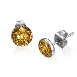 Ronde goudkleurige glitter chirurgisch staal oorstekers