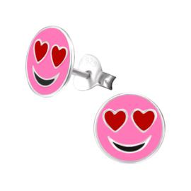 Roze Smiley oorknopjes met rode hartje oogjes verliefd - 925 zilver