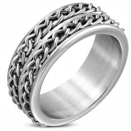 Stalen zilverkleurige ring met schakel ketting - Maat 21