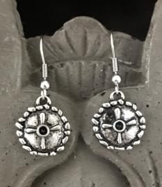 Stalen oorhanger Round antique silver