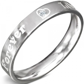 Mooie zilverkleurige Quote ring staal Forever love  - Maat 16