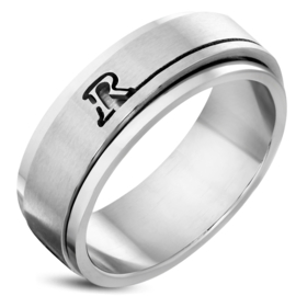 Ring met letter R edelstaal dames/heren - Maat 20