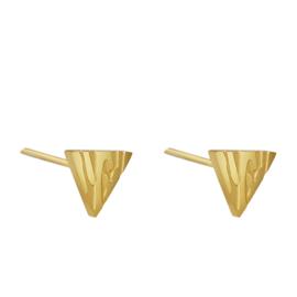 Oorbellen Chirurgisch Staal Oorknopjes Driehoek Dierenprint Triangle Goud