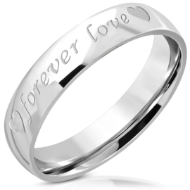 Forever Love Quote dames/heren ring Rvs - Ringmaat 19