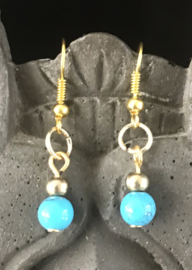 Earrings gold plated Blue