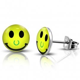 Gele  lachende SMILEY oorbellen van chirurgisch staal
