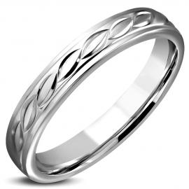 Smalle Zilverkleurige Stalen dames ring met swirl