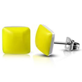 Gele oorbellen dames Rvs knopjes zilver