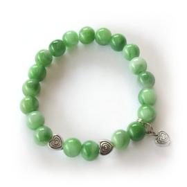 Meisjes kralen armband groen met hartjes