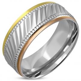Dames ring edelstaal in drie kleuren; Goud, zilver en rosé goud