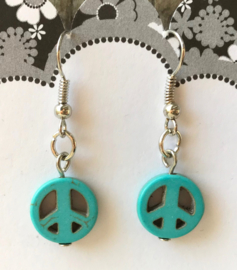 Oorhangers turquoise peace teken