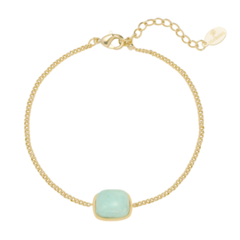Dames armband staal goud turquoise natuursteen
