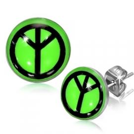 Groene ronde Peace oorknopjes edelstaal