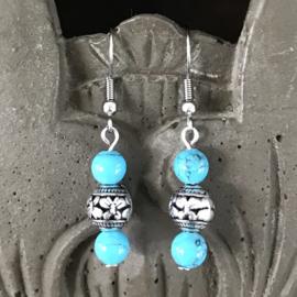 Oorbellen Chirurgisch Staal Bali Hangers turquoise