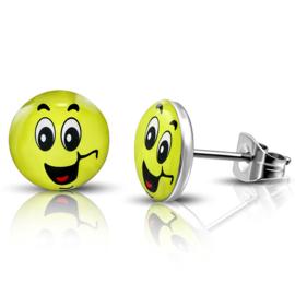 Chirurgisch staal Gele smiley oorknopjes
