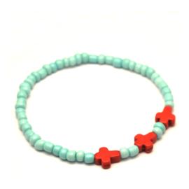 Rocailles armband met rode kruisjes