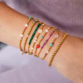 Kralen armbandje stainless steel kraaltjes goud met groen