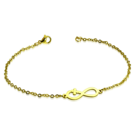 Dames armband infinity staal gold plated - 20 cm