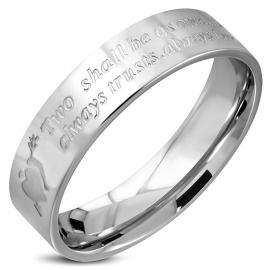 Chirurgisch stalen zilverkleurige ring met liefdes tekst