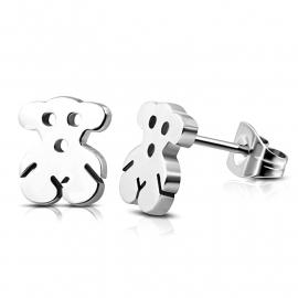 Zilverkleurige Beertjes chirurgisch staal oorbellen voor meisje knopjes