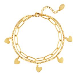 Armband dames chirurgisch staal goud Chain met hartjes bedels