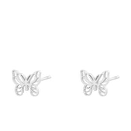 Oorbellen Chirurgisch Staal Vlinder zilver