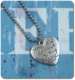 You are always in my heart ketting edelstaal