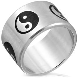 Brede Yin Yang ring zilverkleurig Rvs heren