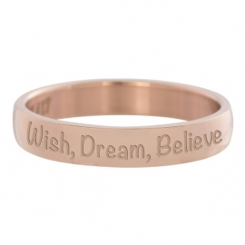 Ring Wish, Dream, Believe rosé goud 4 mm