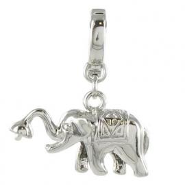 Eligo verzilverde nikkelvrije charm olifant GELUK
