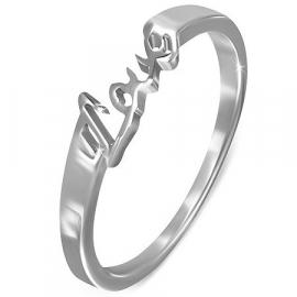 Stalen zilverkleurige dames ring met de tekst LOVE - Maat 16