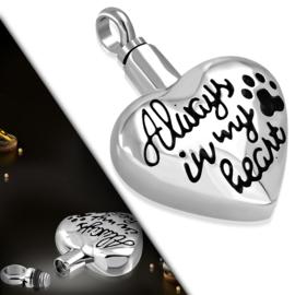 ASHANGER voor huisdier - Always in my heart - zilver staal