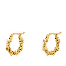 Twisted oorringen staal goud mini bolletjes