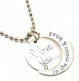 I LOVE YOU TO THE MOON and back ketting edelstaal
