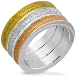 Brede stalen dames ring drie kleuren - Ringmaat 16