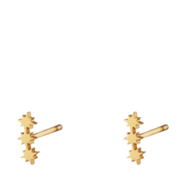 Drie sterren oorbellen goud stainless steel