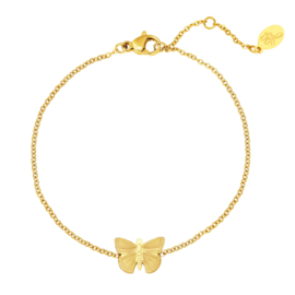Dames armband staal goud met vlinder