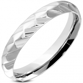 Leuke ringen - FACET Ring RVS dames  ringmaat 20