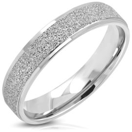Dames glitter & glamour ring staal - Ringmaat 16