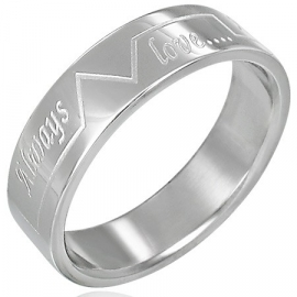 RVS RING met tekst ALWAYS LOVE - maat 19
