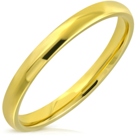 Stalen smalle glanzende ring gold plated - Grote Maat