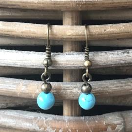 Oorhangers bronskleurig Boho turquoise