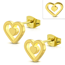 Stalen Hartjes oorbellen goud