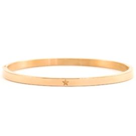 Stalen bangle dames armband rosé goud met ster