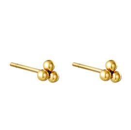 Oorbellen Chirurgisch Staal Triple Bullet mini oorknopjes goud