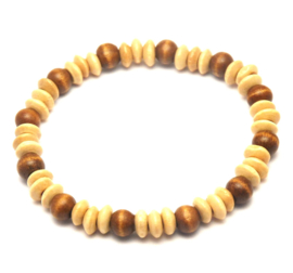 Kralen heren armband hout bruin beige