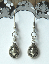 Stalen oorhangers Bali antiek zilveren hangers druppel