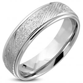Zilverkleurige Stalen ring gezandstaald uiterlijk - Ringmaat 16